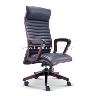 STONOR DIRECTOR HIGH BACK LEATHER CHAIR WITH RUBBER-WOOD WOODEN ROCKET BASE