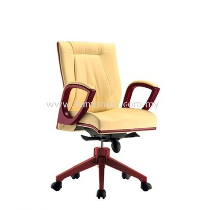 JESSI DIRECTOR LOW BACK LEATHER CHAIR WITH WOODEN TRIMMING LINE