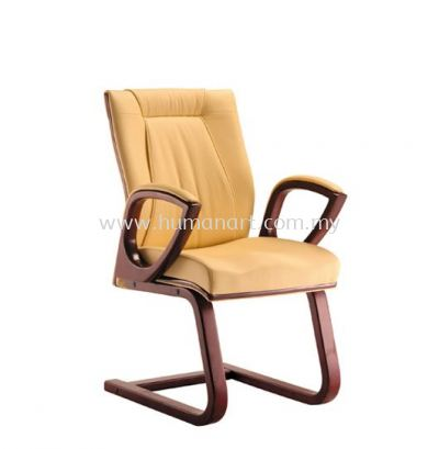 JESSI DIRECTOR VISITOR LEATHER CHAIR WITH WOODEN TRIMMING LINE
