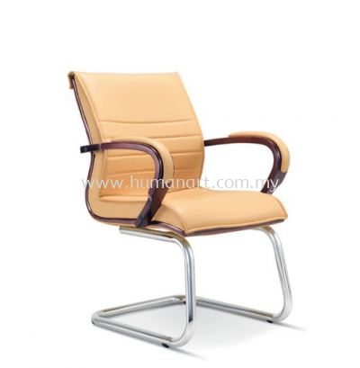 EDORA DIRECTOR VISITOR LEATHER CHAIR WITH WOODEN TRIMMING LINE