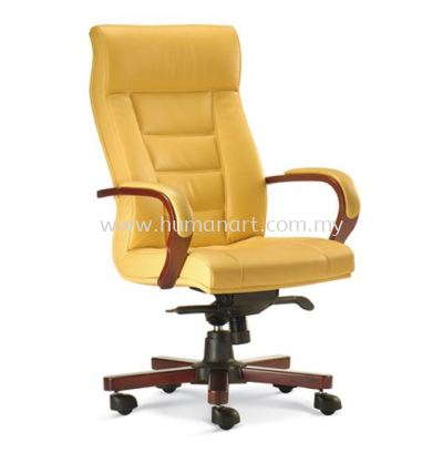 VIERA DIRECTOR HIGH BACK LEATHER CHAIR WITH RUBBER-WOOD WOODEN BASE