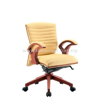 ZINGER ll DIRECTOR LOW BACK LEATHER CHAIR C/W WOODEN TRIMMING LINE