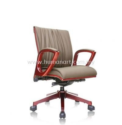 VITTA2 DIRECTOR LOW BACK LEATHER CHAIR C/W WOODEN TRIMMING LINE