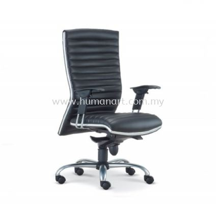ALPHA DIRECTOR MEDIUM BACK LEATHER CHAIR WITH CHROME TRIMMING LINE ASE 628