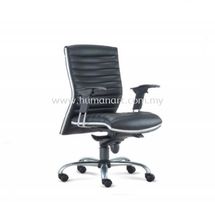 ALPHA DIRECTOR LOW BACK LEATHER CHAIR WITH CHROME TRIMMING LINE ASE 638