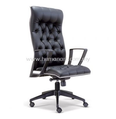 ZYRON DIRECTOR HIGH BACK LEATHER CHAIR WITH CHROME TRIMMING LINE