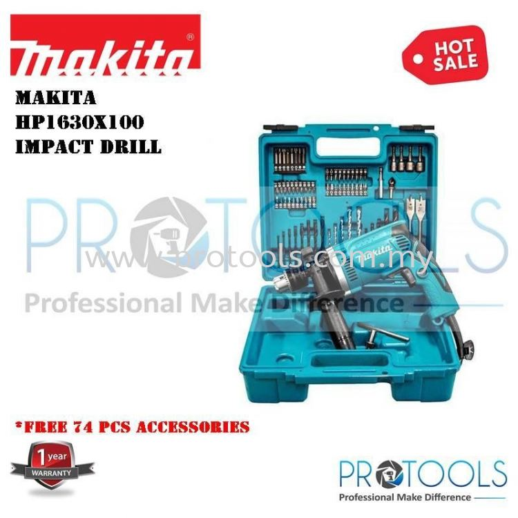 MAKITA HP1630x100 Makita Hammer Drill with 74 pcs Combo Set Impact drill