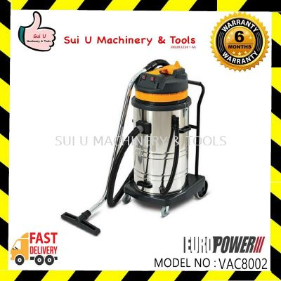 Europower VAC8002 Wet & Dry Stainless Steel Vacuum Cleaner 80Litre 2000w