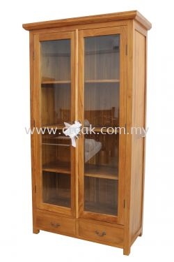 2 Drawers with 2 Doors Display Cabinet