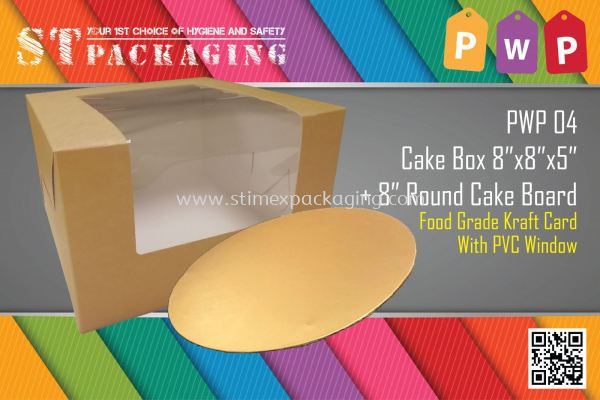 PWP04 8inch Cake Box + Round Board @ 15sets x RM3.20/set