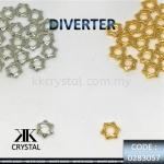 830575, DIVERTER : STAR SHAPE 8MM, 0283057, WHITE GOLD/GOLD, 20PCS/PCK