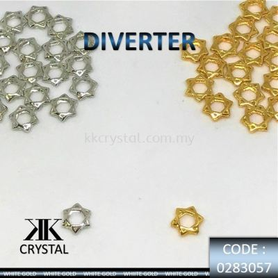 830575, DIVERTER : STAR SHAPE 8MM, 0283057, WHITE GOLD/GOLD, 20PCS/PCK