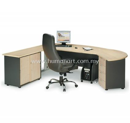 EXECUTIVE TABLE METAL J-LEG C/W SIDE CABINET &  SIDE DISCUSSION TABLE WITH FIXED PEDESTAL MANAGER TABLE SET TMB 180A (INNER)