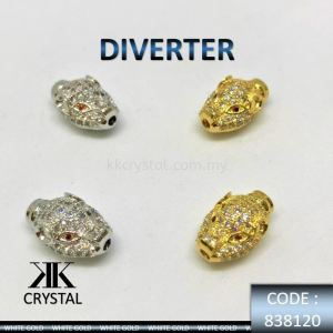 838120, DIVERTER, HEAD LEOPARD, PLATED/GOLD PLATED, 2PCS/PCK