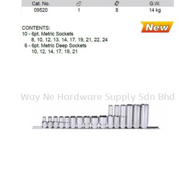 09520 - Pc 1/2 Drive 6 Point Metric Socket Set