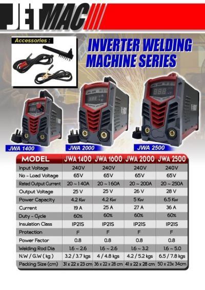 Jetmac JWA1400 Inverter Welding Machine with welding glasses and welding rod