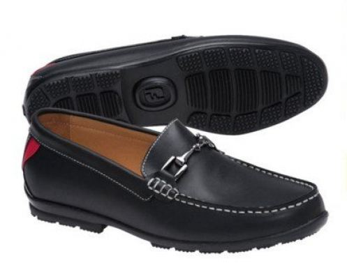 FootJoy Men's Club Casuals Buckle Smooth Black Loafers - Current Season Style