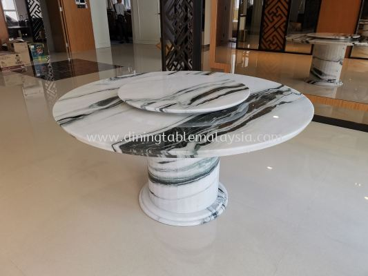 White Marble Dining Table - Panda White Marble