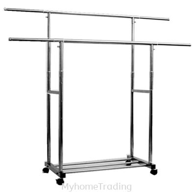 MHT201 S/STEEL EXTENDABLE DOUBLE BARS FLOOR DRYING RACK WITH WHEEL