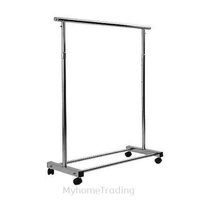 LT101 S/STEEL SINGLE BARS EXTENDABLE FLOOR DRYING RACK WITH WHEEL