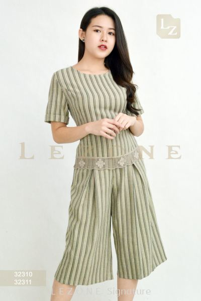 32310 + 32311 LINEN STRIPED BLOUSE WITH CULOTTES【2ND 50%】