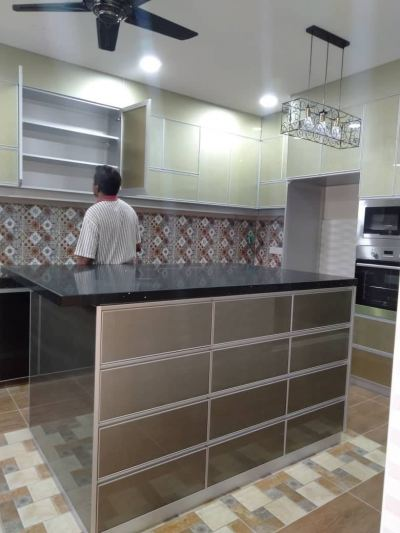 Light Wood Color Island Table Kitchen Cabinet