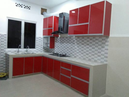 Red Color Kitchen Cabinet