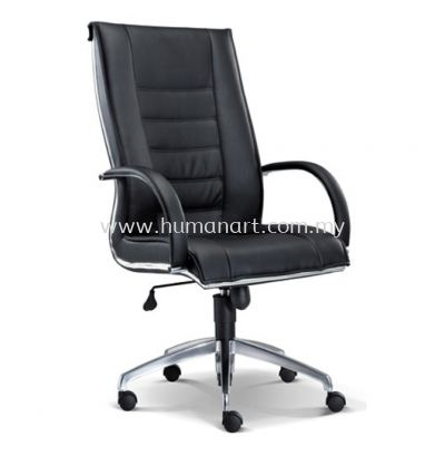 NOSSI EXECUTIVE HIGH BACK LEATHER CHAIR C/W CHROME TRIMMING LINE