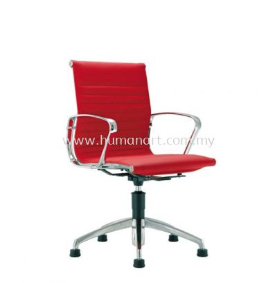 SEFINA EXECUTIVE VISITOR LEATHER OFFICE CHAIR UPHOLSTERY AUTO RETURN WITH CHROME BODY FRAME - kelana square | bandar sunway | taman connaught