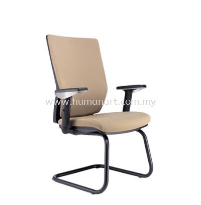 INFLORA 1 EXECUTIVE VISITOR BACK LEATHER CHAIR CW EPOXY BLACK CANTILEVER BASE VA