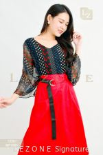 13391 PRINTED PATTERN SLEEVE BLOUSE【1ST 10% 2ND 15% 3RD 20%】