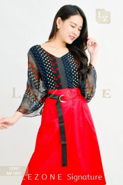 13391 PLUS SIZE PRINTED PATTERN SLEEVE BLOUSE【30% 40% 50%】