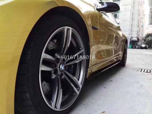 Bmw f30 m performance style side skirt lip add on real carbon material new set