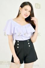 33126 RUFFLE SHOULDER BLOUSE【1ST 10% 2ND 15% 3RD 20%】