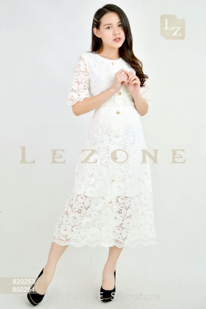 820253 + 850254 LACE BLOUSE WITH MIDI SKIRT【2ND 50%】