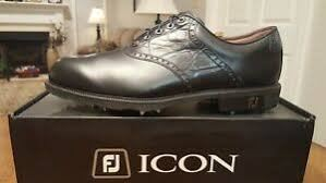 FJ ICON BLACK WHT/CHSTNT LIZD  Golf Shoes