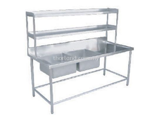 (C18) Double Bowl Sink Table With 2 Tier Overshelf