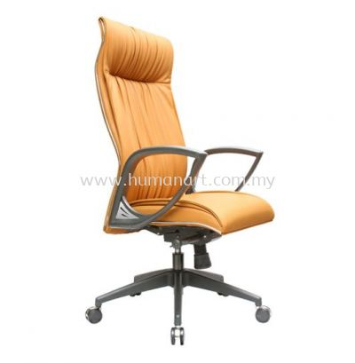 VITTA 3 EXECUTIVE CURVE HIGH BACK LEATHER CHAIR WITH CHROME TRIMMING LINE