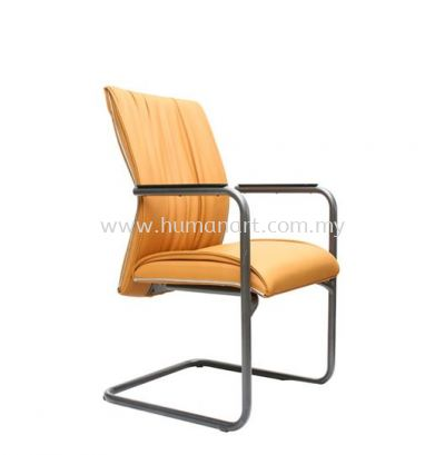 VITTA 3 EXECUTIVE VISITOR LEATHER CHAIR WITH CHROME TRIMMING LINE