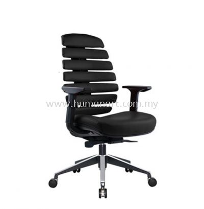 YOGA EXECUTIVE MEDIUM BACK LEATHER CHAIR WITH TWO TONE ALUMINIUM ROCKET DIE-CAST BASE WITH SIDE EPOXY BLACK ACL 2228