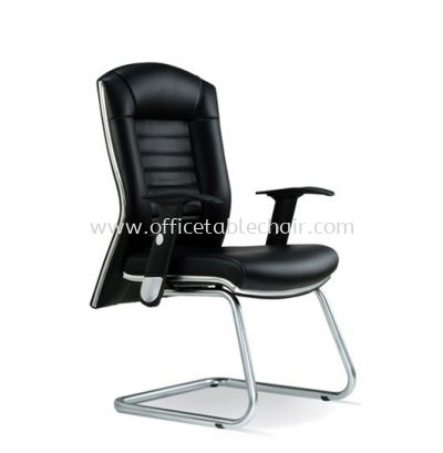AIM DIRECTOR VISITOR LEATHER CHAIR WITH CHROME TRIMMING LINE ASE 1014