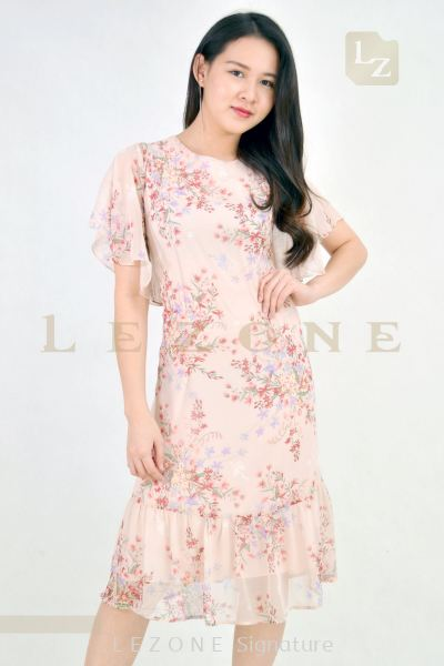 7059 PLUS SIZE CHIFFON FLORAL MIDI DRESS��2ND 50%��