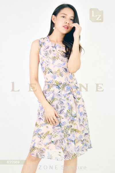 635569 FLORAL RUFFLE DRESS