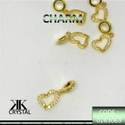 830636, CHARM, HEART SHAPE, 0283063, GOLD, 5PCS/PCK