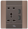 UNIVERSAL SOCKET C/W 3.4A USB CHARGER Switches and Sockets A68 Elegance Series