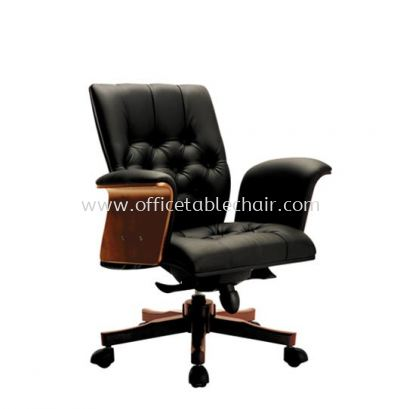 ARISAL DIRECTOR LOW BACK LEATHER CHAIR WITH RUBBER-WOOD WOODEN BASE