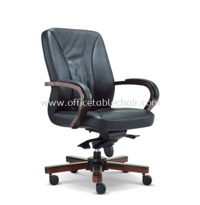 MERCU DIRECTOR MEDIUM BACK LEATHER CHAIR WITH RUBBER-WOOD WOODEN BASE
