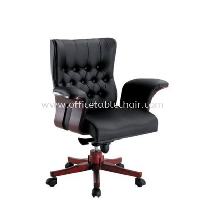 HAWKIN DIRECTOR LOW BACK CHAIR WITH RUBBER-WOOD WOODEN BASE ACL 2077