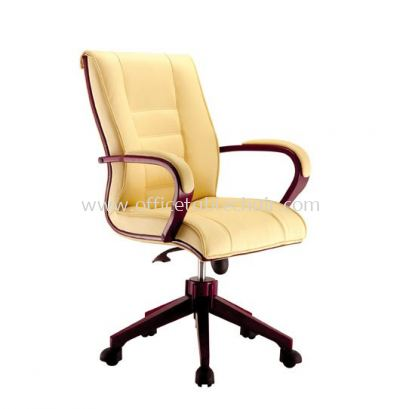 MECO B DIRECTOR MEDIUM BACK CHAIR C/W WOODEN TRIMMING LINE ACL 1077 (B)