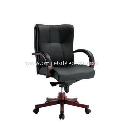 CORE DIRECTOR LOW BACK LEATHER CHAIR WITH RUBBER-WOOD WOODEN BASE